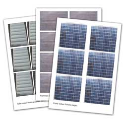 Print out of photovoltaic panels, solar water heating and rammed earth eco building materials